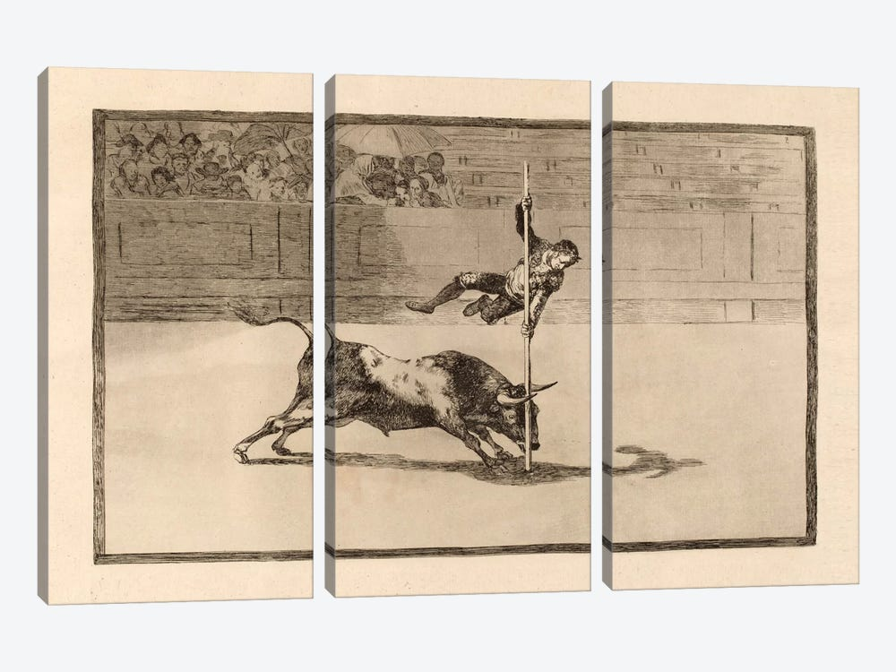 The Agility and Audacity of Juanito Apinani in the Ring at Madrid by Francisco Goya 3-piece Canvas Artwork