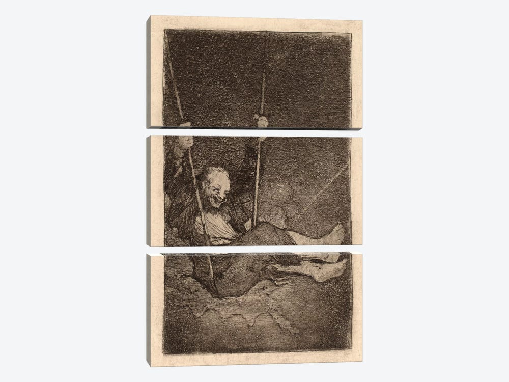 Old Man on a Swing by Francisco Goya 3-piece Canvas Art