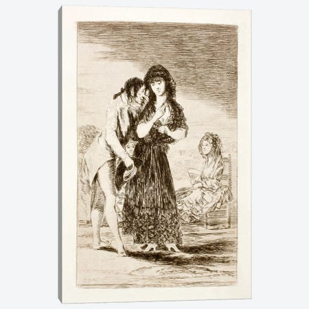 Los Caprichos: Even Thus He Cannot Make Her Out, Plate 7 Canvas Print #15356} by Francisco Goya Art Print