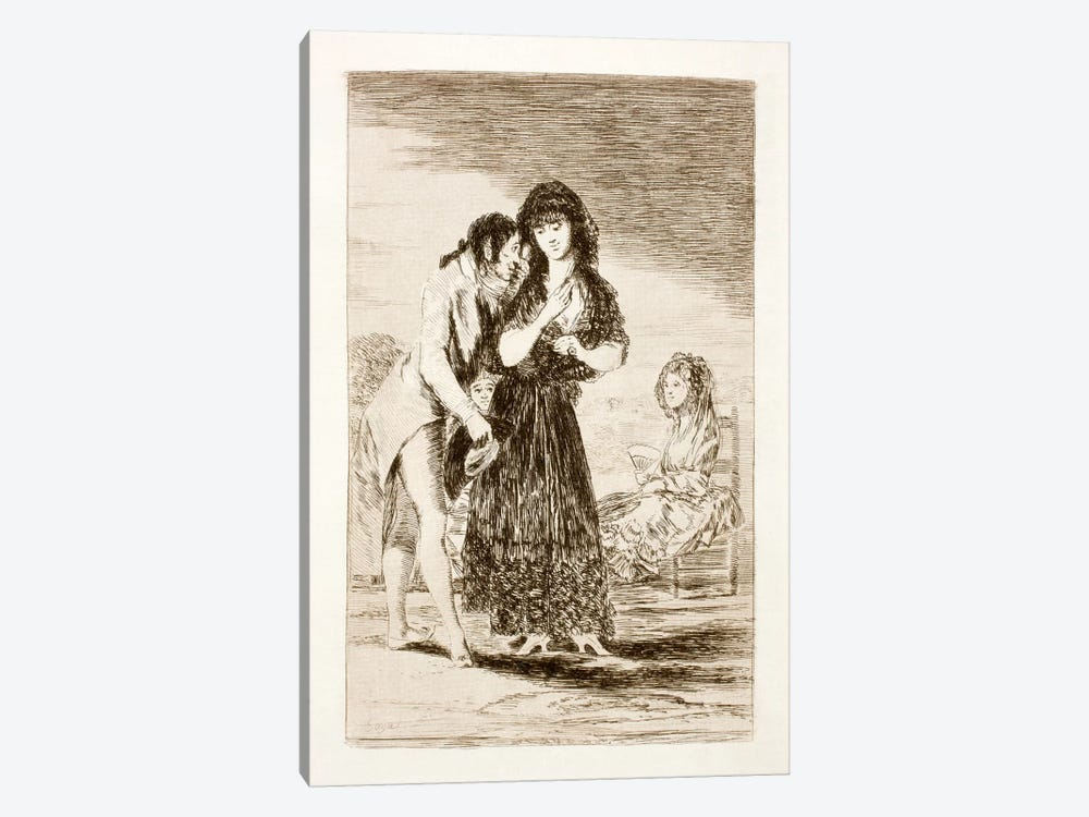 Los Caprichos: Even Thus He Cannot Make Her Out, Plate 7 by Francisco Goya 1-piece Art Print