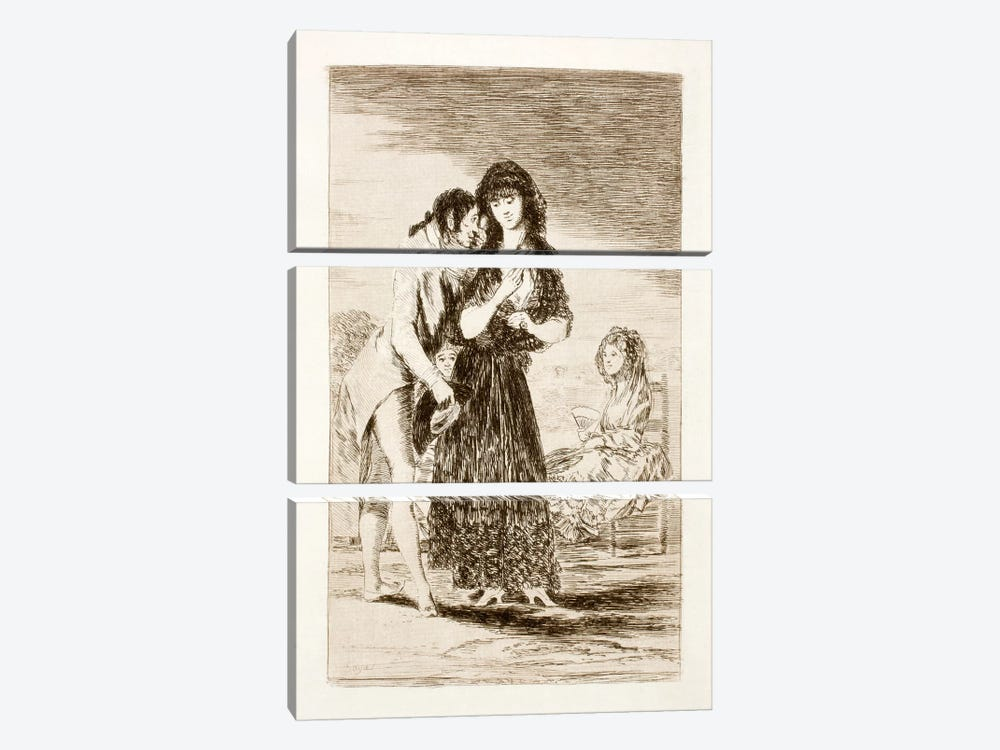Los Caprichos: Even Thus He Cannot Make Her Out, Plate 7 by Francisco Goya 3-piece Canvas Art Print