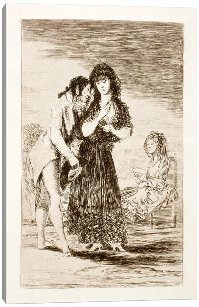 Los Caprichos: Even Thus He Cannot Make Her Out, Plate 7 Canvas Art Print