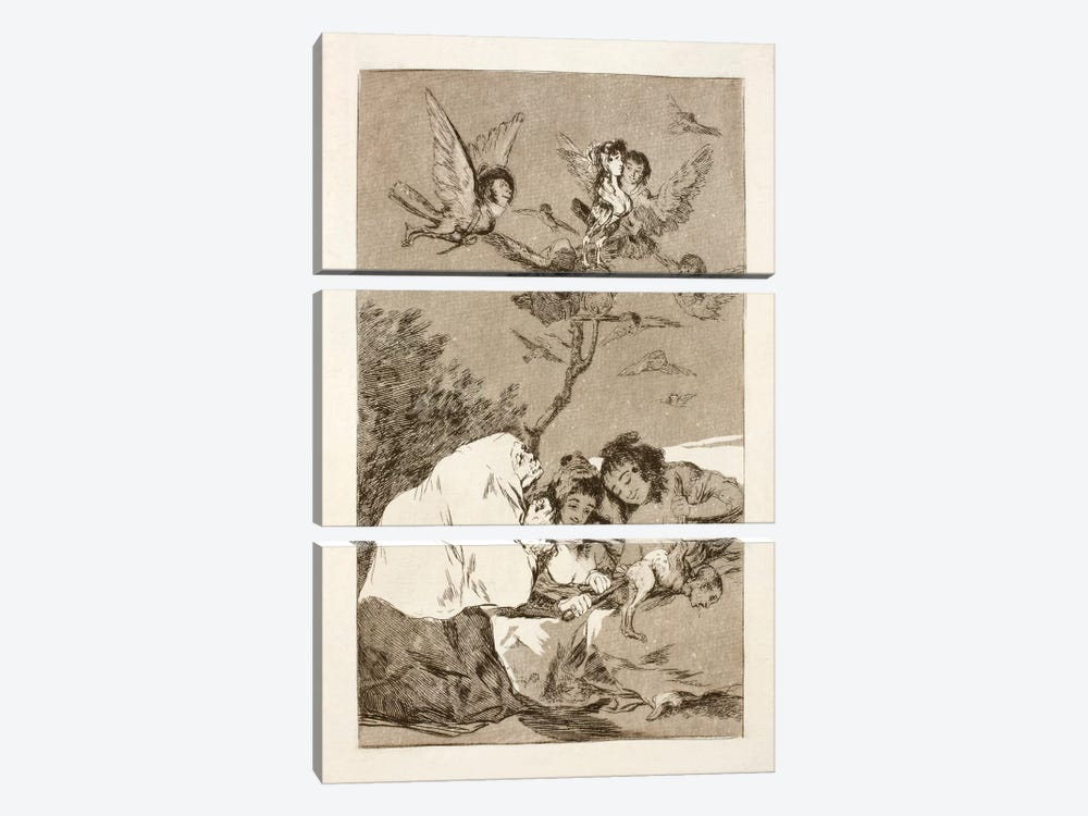 Los Caprichos: Everyone Will Fall, Plate 19 by Francisco Goya 3-piece Canvas Print