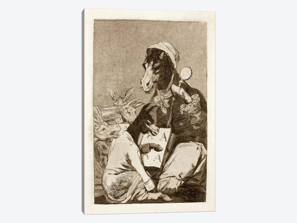 Los Caprichos: Might Not the Pupil Know More?, Plate 37 by Francisco Goya 1-piece Canvas Artwork