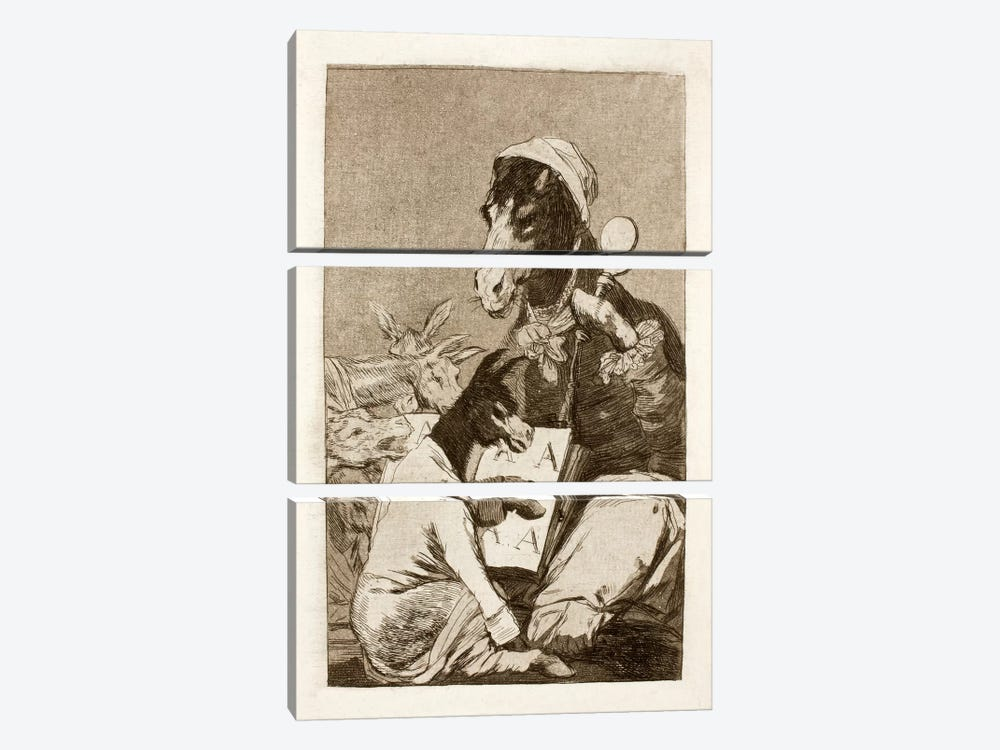 Los Caprichos: Might Not the Pupil Know More?, Plate 37 by Francisco Goya 3-piece Canvas Wall Art