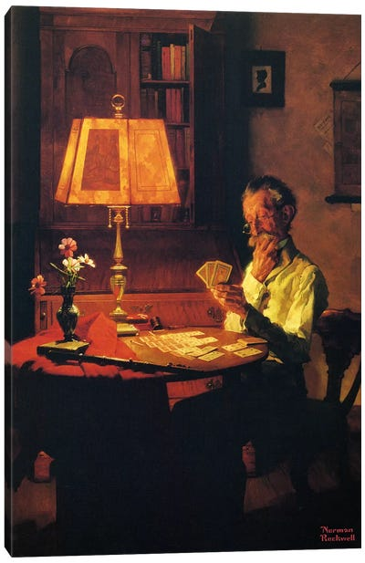 Man Playing Cards by Lamplight Canvas Print #1535