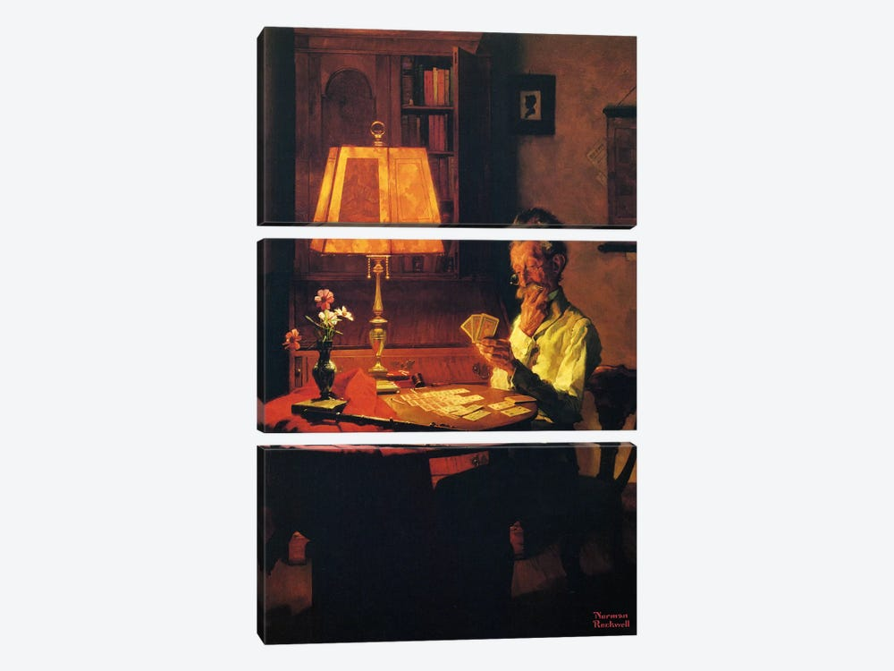Man Playing Cards by Lamplight by Norman Rockwell 3-piece Canvas Wall Art