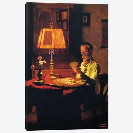 Man Playing Cards by Lamplight Canvas Print #1535} by Norman Rockwell Art Print