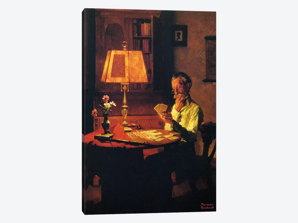 Man Playing Cards by Lamplight by Norman Rockwell 1-piece Canvas Art