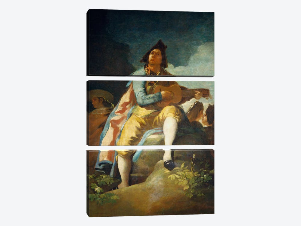 El Majo de la Guitarra, 1779 by Francisco Goya 3-piece Canvas Wall Art