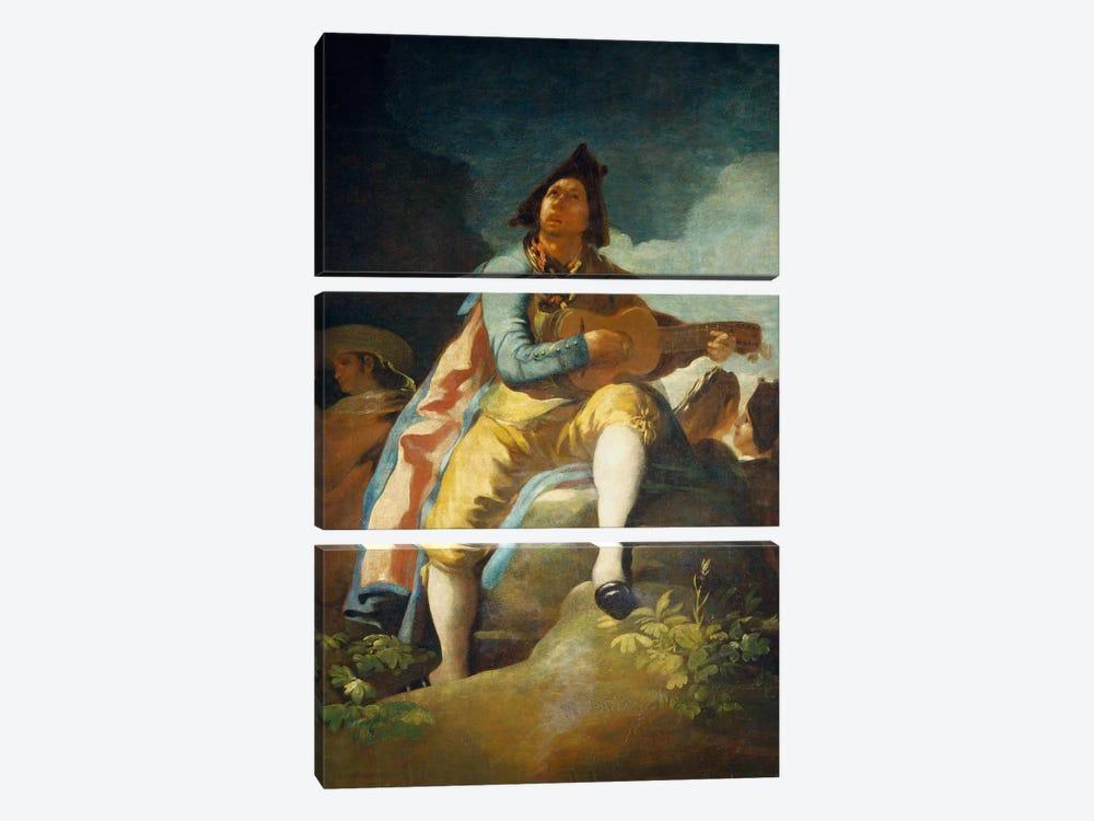 El Majo de la Guitarra, 1779 by Francisco Goya 3-piece Canvas Wall Art