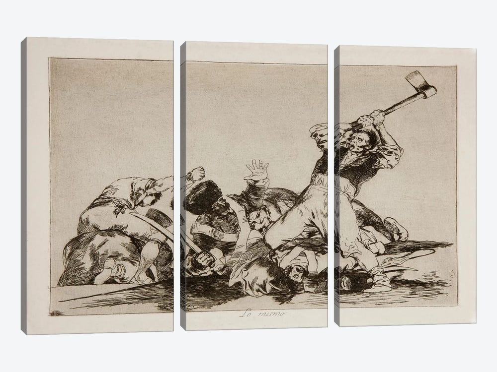 The Disasters of War: The Same Thing, Plate 3 by Francisco Goya 3-piece Canvas Print