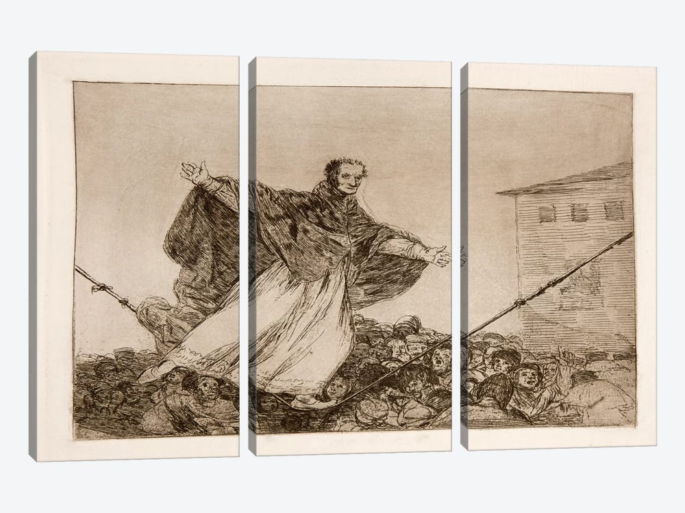 The Disasters of War: Look the Rope is Breaking, Plate 77 by Francisco Goya 3-piece Canvas Wall Art