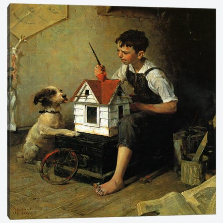 Paniting The Little House Canvas Print #1536} by Norman Rockwell Canvas Print