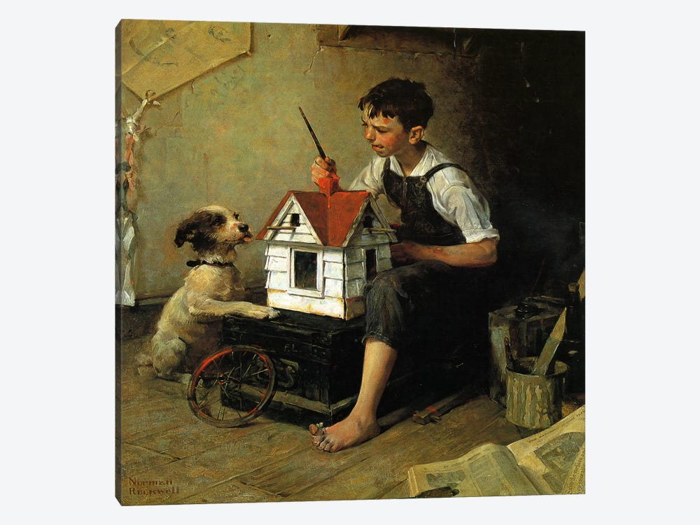 Paniting The Little House by Norman Rockwell 1-piece Canvas Art Print