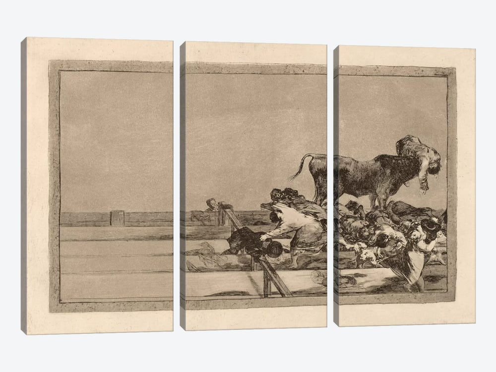 Dreadful Events in the Front Rows of the Ring at Madrid and Death of the Mayor of Torrejon by Francisco Goya 3-piece Art Print