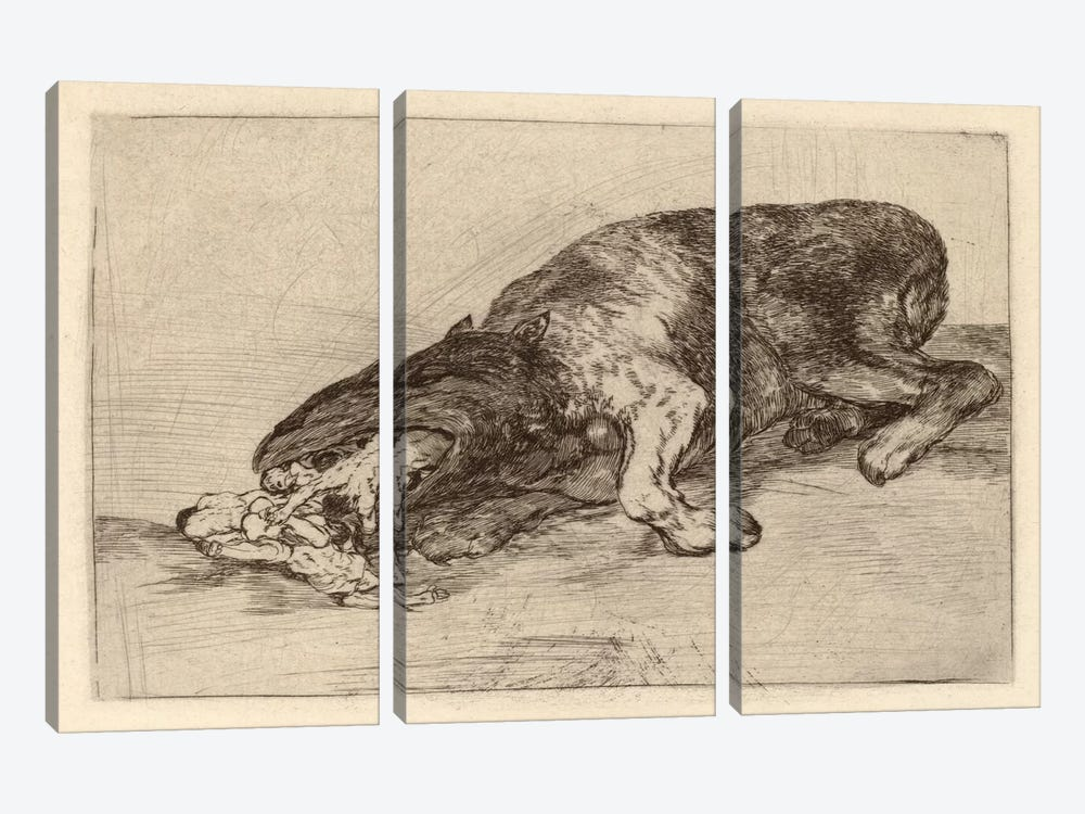 Fierce Monster, 1820 by Francisco Goya 3-piece Canvas Art