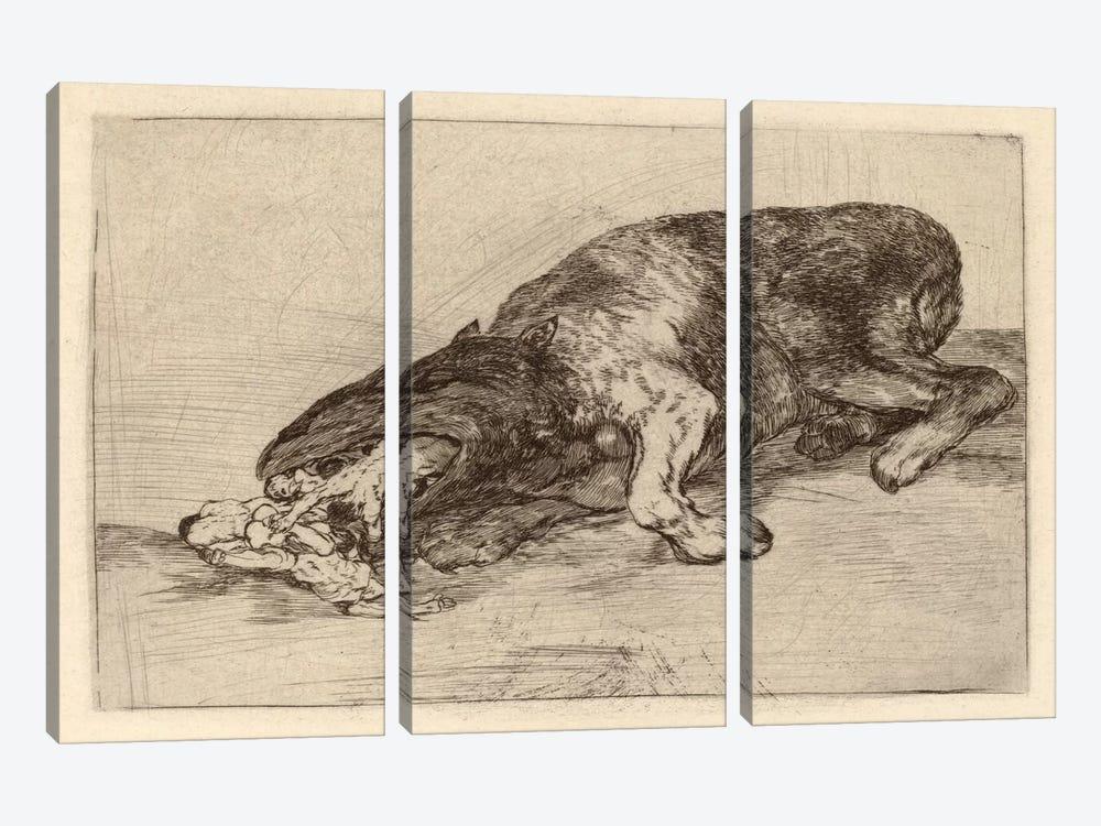 Fierce Monster, 1820 by Francisco Goya 3-piece Canvas Art