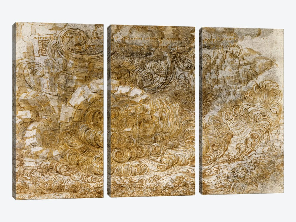 Deluge, 1518 by Leonardo da Vinci 3-piece Canvas Art Print