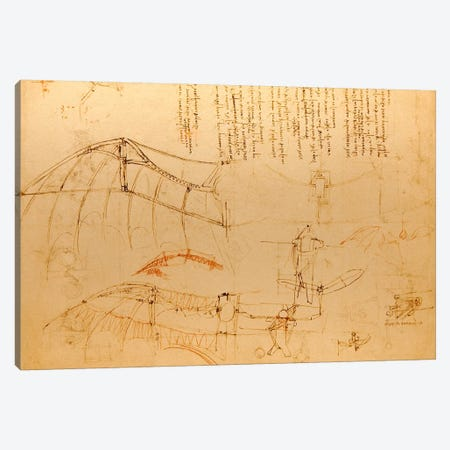 Drawing of Flying Machine with Beating Wings Canvas Print #15388} by Leonardo da Vinci Canvas Art Print