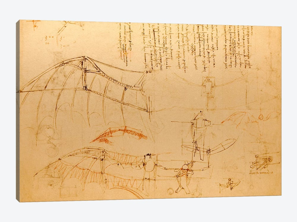 Drawing of Flying Machine with Beating Wings by Leonardo da Vinci 1-piece Canvas Art