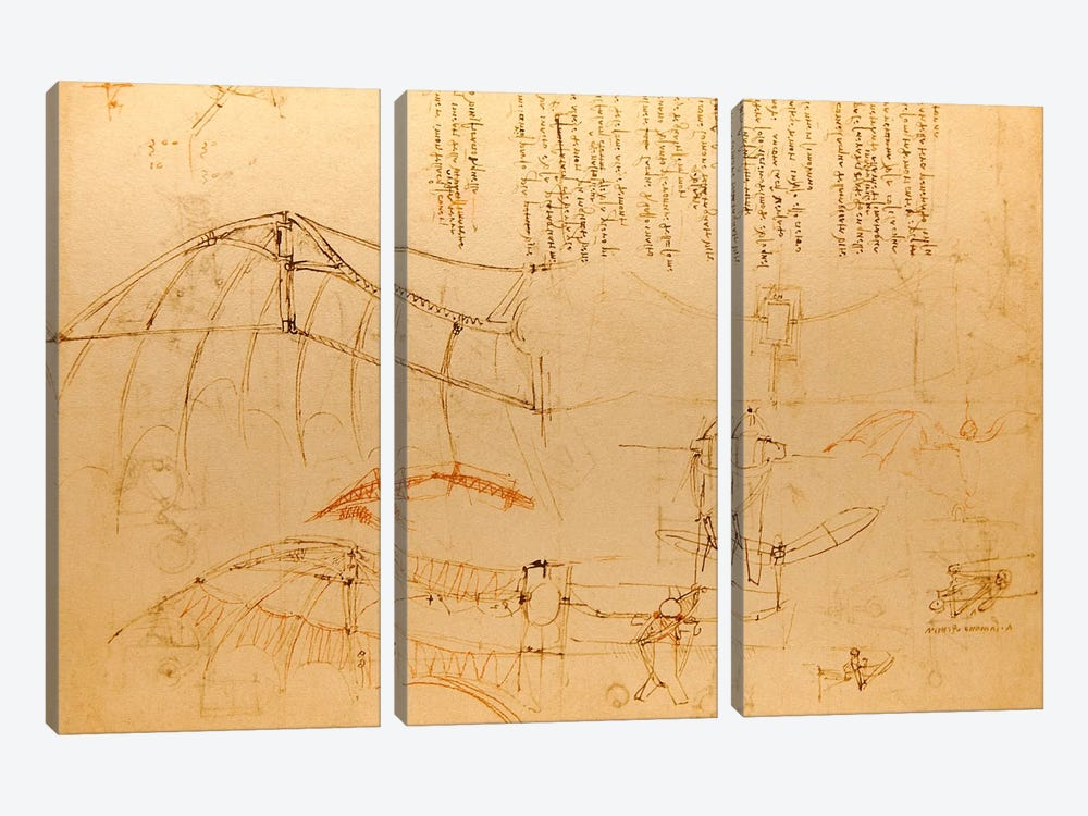 Drawing of Flying Machine with Beating Wings by Leonardo da Vinci 3-piece Canvas Artwork