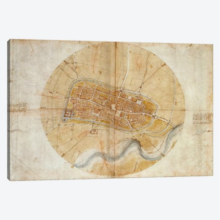 Map of Imola, 1502 Canvas Print #15389} by Leonardo da Vinci Canvas Art Print