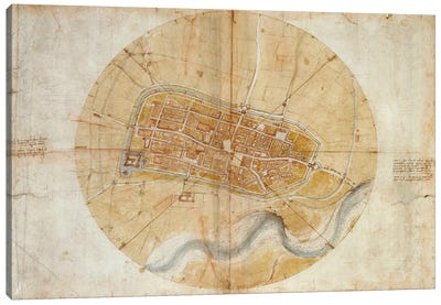 Map of Imola, 1502 by Leonardo da Vinci Canvas Art Print