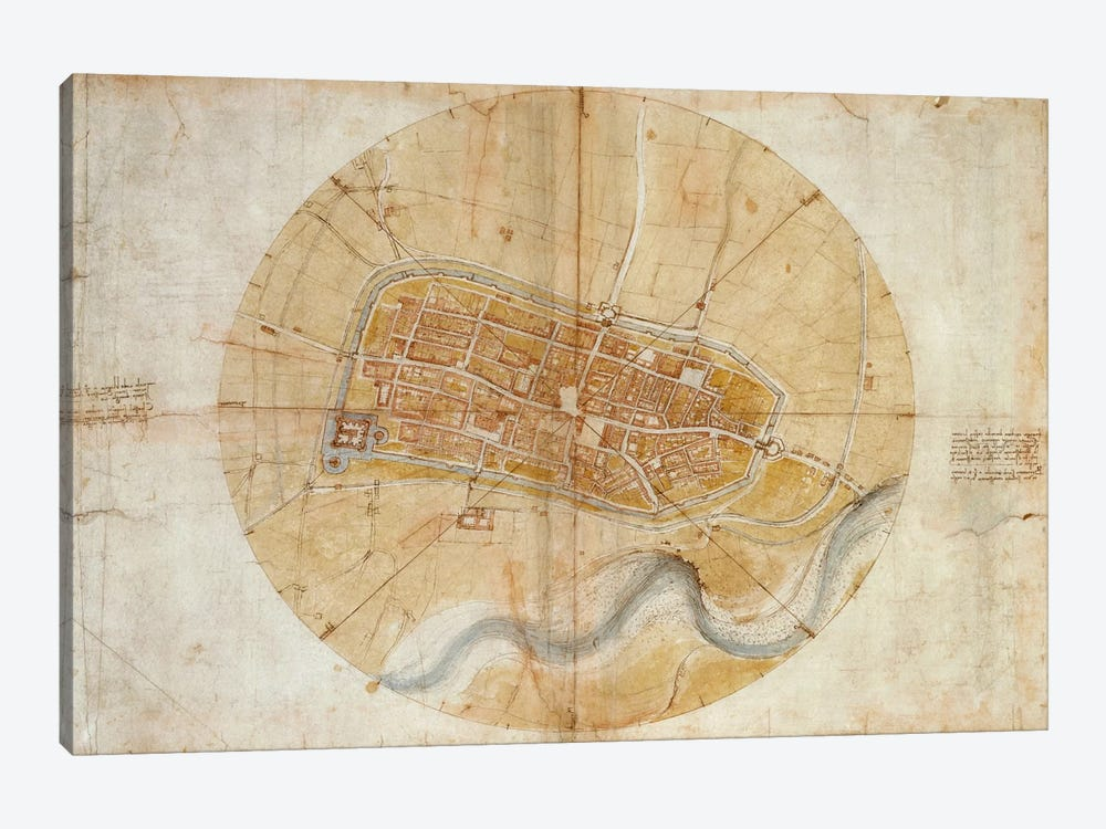 Map of Imola, 1502 by Leonardo da Vinci 1-piece Art Print