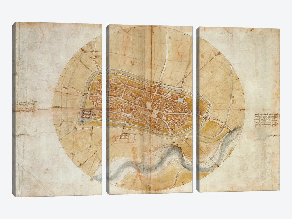 Map of Imola, 1502 by Leonardo da Vinci 3-piece Canvas Art Print