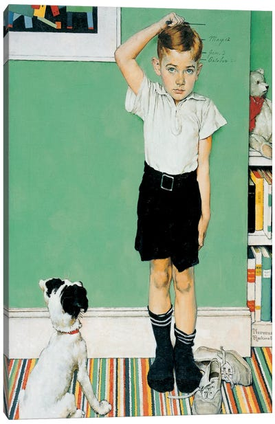 He's Going to Be Taller Than Dad by Norman Rockwell Canvas Artwork