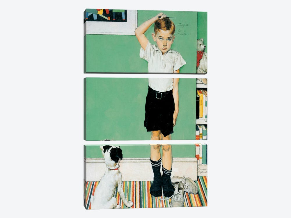 He's Going to Be Taller Than Dad by Norman Rockwell 3-piece Canvas Print