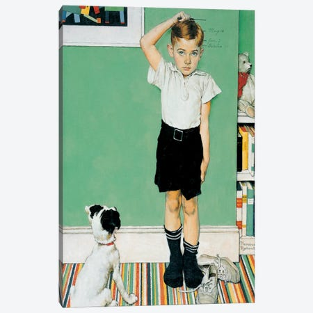 He's Going to Be Taller Than Dad Canvas Print #1538} by Norman Rockwell Canvas Artwork