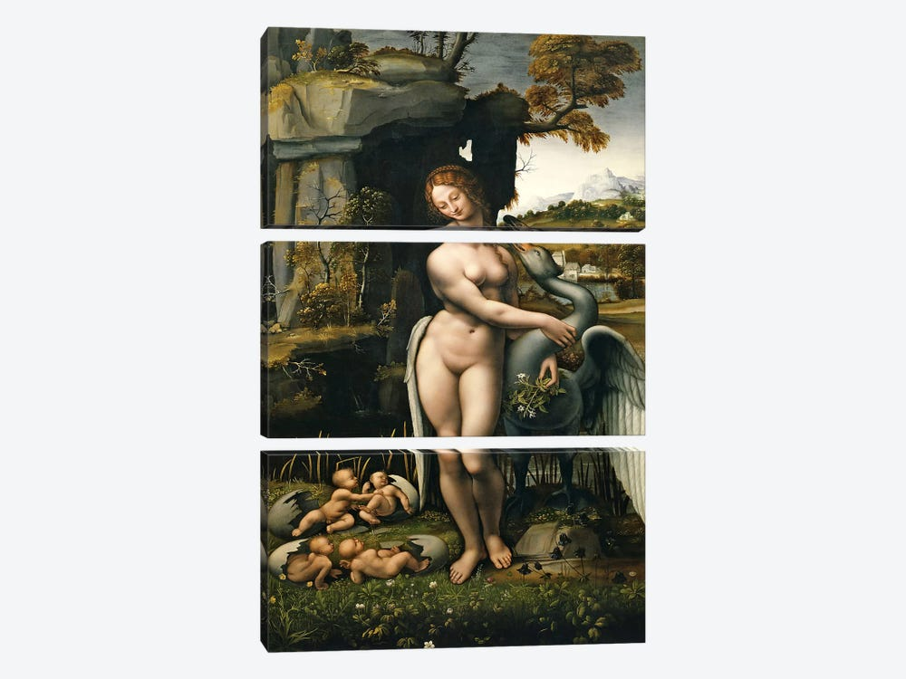 Leda and the Swan, 1515 by Leonardo da Vinci 3-piece Art Print