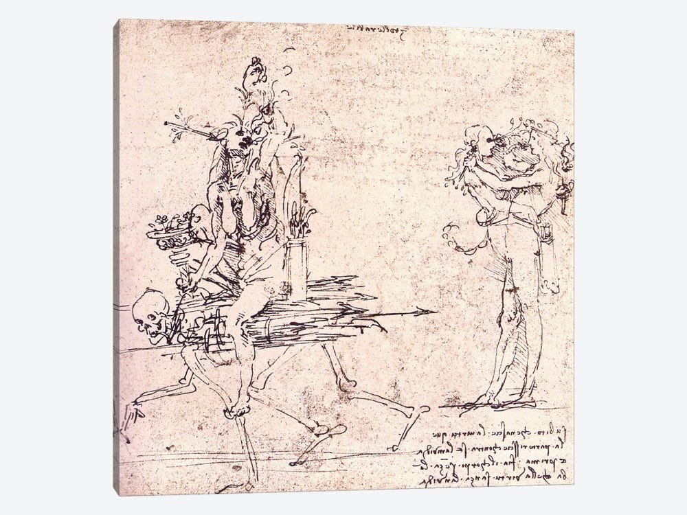 Illustration for Virtue and Envy by Leonardo da Vinci 1-piece Canvas Art Print