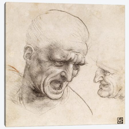Study of Two Warriors' Heads for the Battle of Anghiari, 1505 Canvas Print #15396} by Leonardo da Vinci Art Print