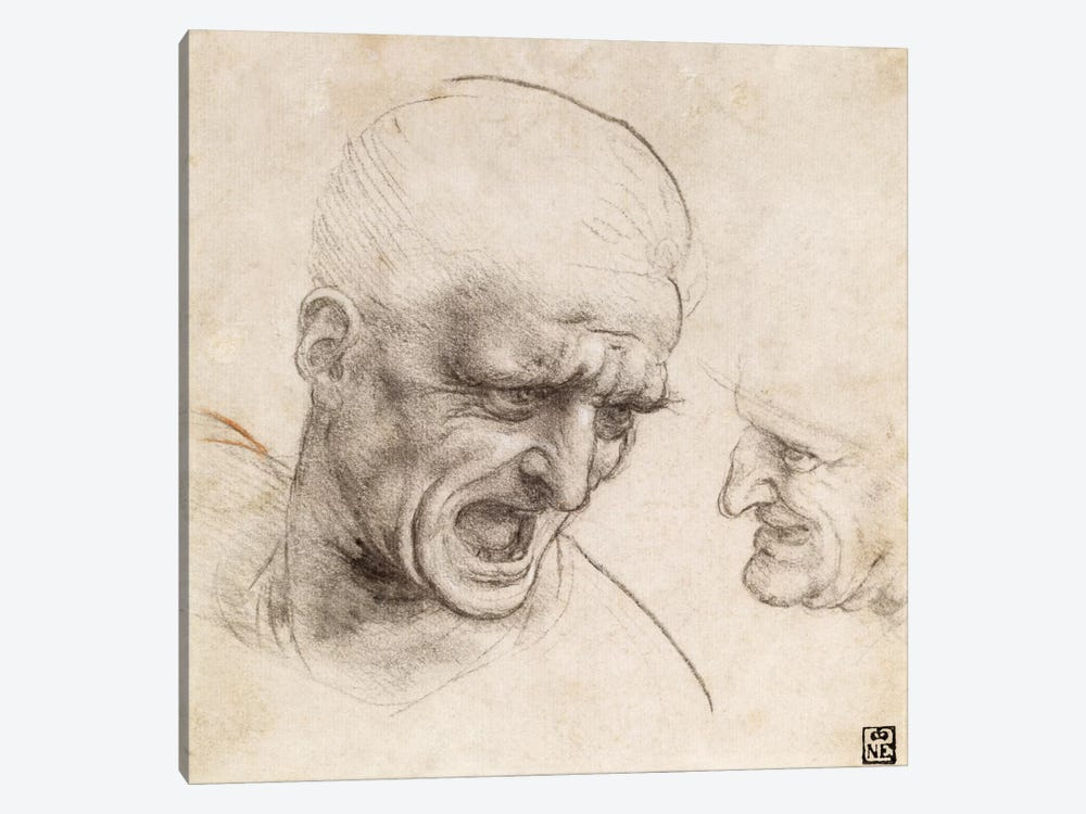 Study of Two Warriors' Heads for the Battle of Anghiari, 1505 by Leonardo da Vinci 1-piece Canvas Print