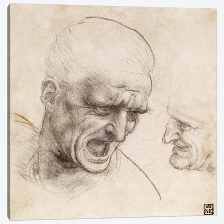 Study of Two Warriors' Heads for the Battle of Anghiari, 1505 Canvas Print #15396} by Leonardo da Vinci Art Print