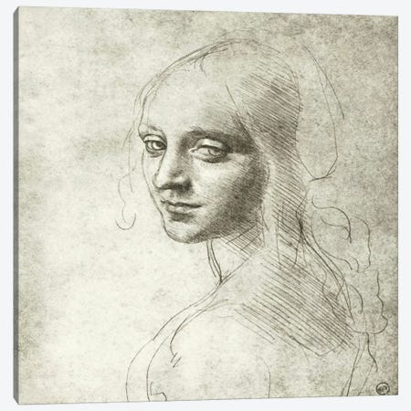 Head of a Girl, 1483 Canvas Print #15397} by Leonardo da Vinci Canvas Art Print