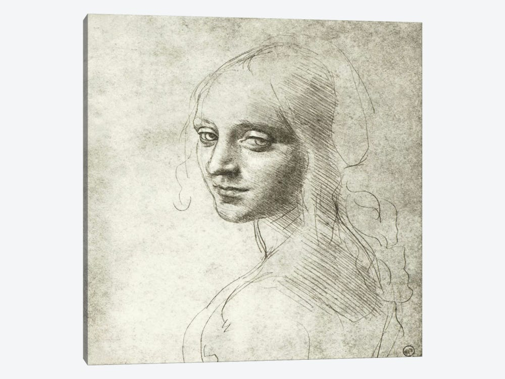 Head of a Girl, 1483 by Leonardo da Vinci 1-piece Canvas Wall Art