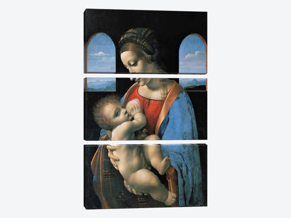 Madonna Litta, 1490 by Leonardo da Vinci 3-piece Art Print
