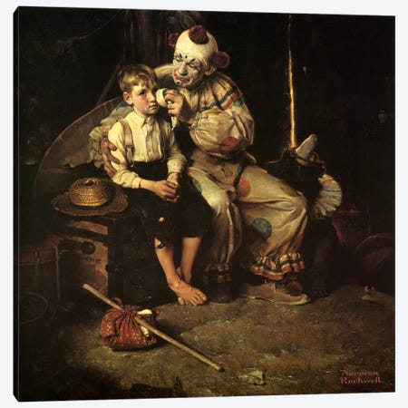 The Runaway (Runaway Boy & Clown) Canvas Print #1539} by Norman Rockwell Canvas Wall Art