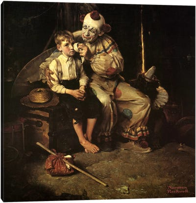 The Runaway (Runaway Boy & Clown) by Norman Rockwell Canvas Wall Art