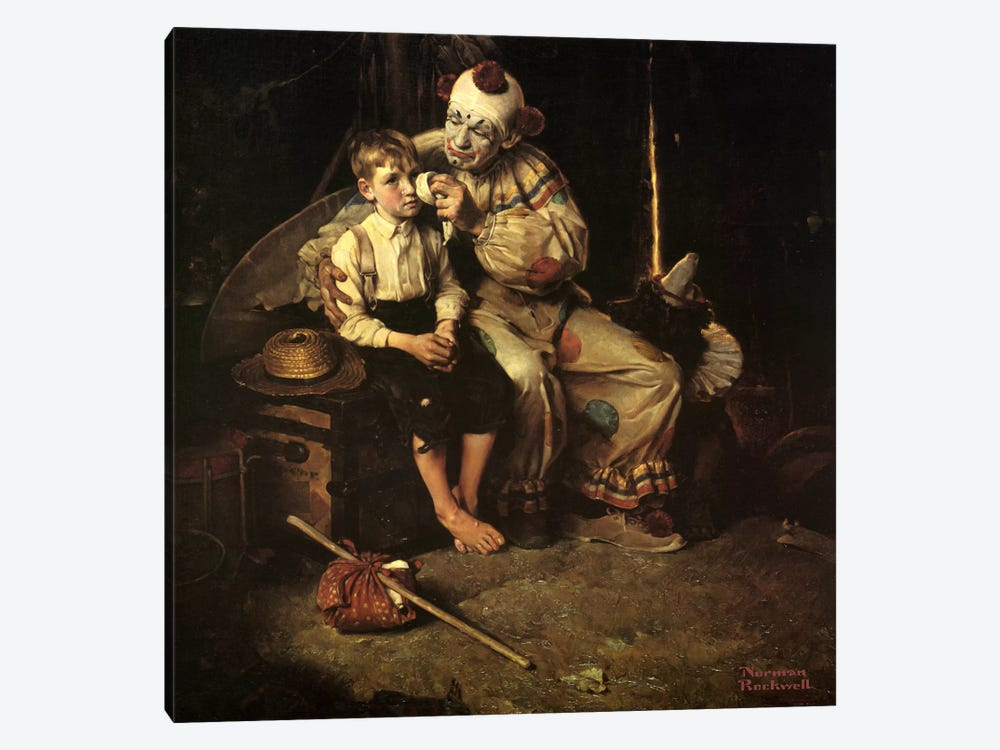 The Runaway (Runaway Boy & Clown) by Norman Rockwell 1-piece Canvas Art