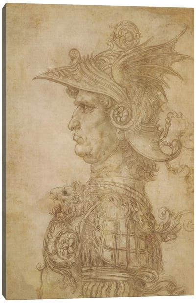 Profile of a Warrior in Helmet by Leonardo da Vinci Canvas Art