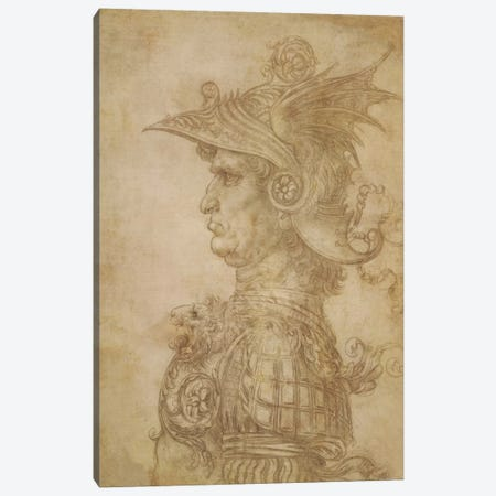 Profile of a Warrior in Helmet 3-Piece Canvas #15400} by Leonardo da Vinci Canvas Art
