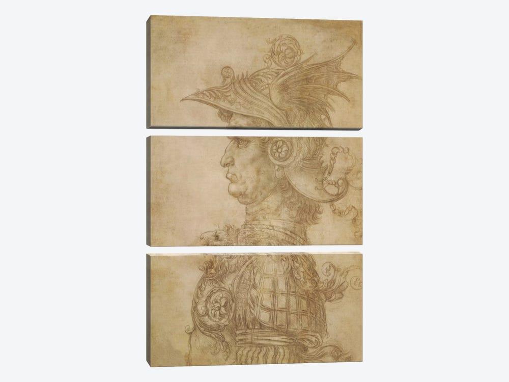 Profile of a Warrior in Helmet by Leonardo da Vinci 3-piece Canvas Print