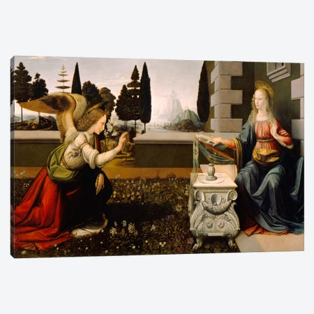 Annunciation Canvas Print #15405} by Leonardo da Vinci Art Print