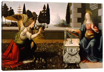 Annunciation by Leonardo da Vinci Art Print