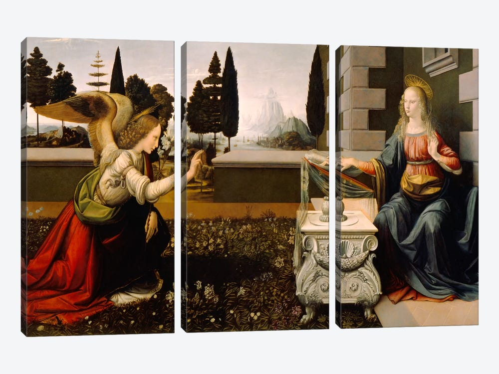 Annunciation by Leonardo da Vinci 3-piece Canvas Wall Art
